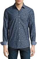 Original Penguin Floral-Print Long-Sleeve Shirt, Blue