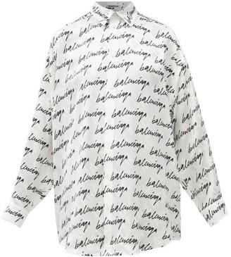 Balenciaga Signature-print Oversized Silk-faille Shirt - White Black