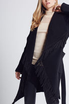 BCBGeneration Fringe-Trimmed Coat - Black