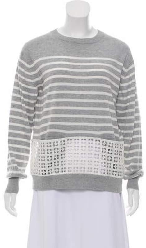 Sacai Luck Striped Lace Sweatshirt Grey Luck Striped Lace Sweatshirt