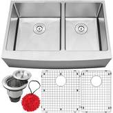 """Ticor Sinks Bryce Series 33"""" L x 22"""" W Double Basin Apron Kitchen Sink with Accessories Ticor Sinks"""