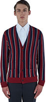 Saint Laurent Men's Lamé Striped Knit Cardigan In Red And Navy