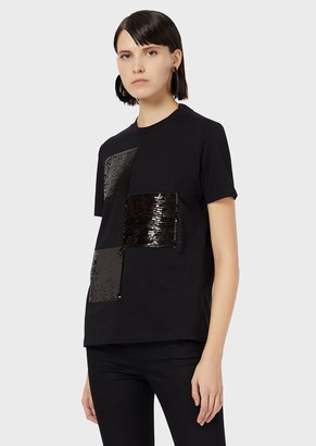 Emporio Armani Sequinned-Plaid, Jersey T-Shirt
