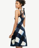 Ann Taylor Gingham Tie Back Flare Dress
