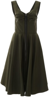 Marni Flared V-Neck Zip-Up Midi Dress