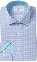 Lorenzo Uomo Two Tone Check Trim Fit Dress Shirt