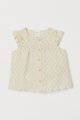 H&M Eyelet Embroidery Blouse - Beige