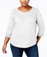 Style&Co. Style & Co Plus Size Cotton Crochet-Trim Top, Created for Macy's