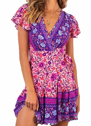 WUOOYOQ Women's Bohemian Floral Printed Wrap V Neck Short Sleeve Split Beach Party Short Dress (#22 M)