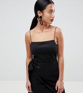 Asos DESIGN Petite wrap front bow scuba mini dress