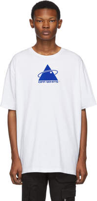Off-White White and Blue Oversized Triangle Planet T-Shirt