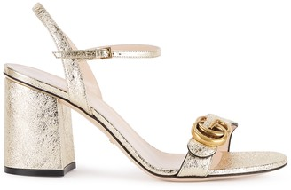 Gucci GG Marmont 75 Gold Leather Sandals