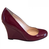Christian Louboutin Ron Ron Zeppa Patent Burgundy Leather Wedges