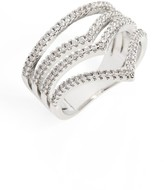 Sole Society Women's Four-Band Crystal Ring