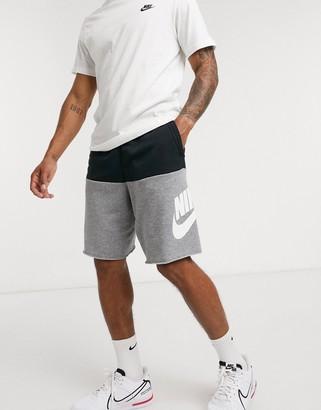 Nike Alumni color block shorts in black/gray