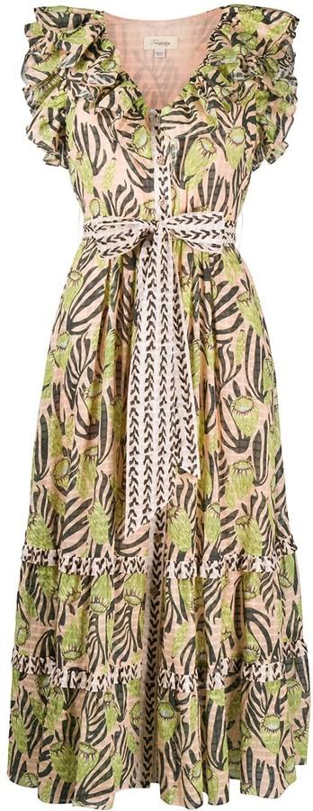 Temperley London Reef print ruffle dress