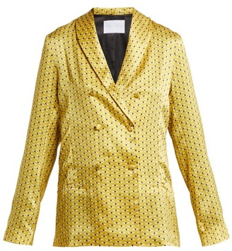 ASCENO Geometric-print Sandwashed-silk Pyjama Jacket - Yellow Print