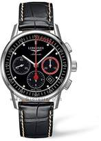 Longines Column Wheel Men's Quartz Watch with Black Dial Chronograph Display and Black Leather Strap L47544523