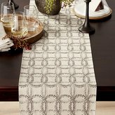 Crate & Barrel Lindley Embroidered Table Runner