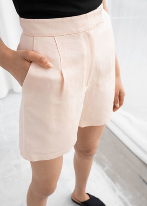 And other stories High Waisted Linen Blend Shorts