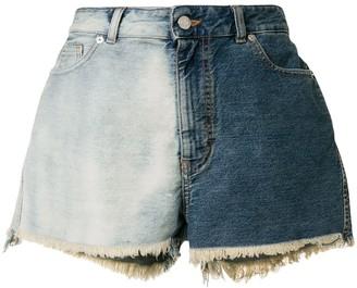 IRO Two-Tone Frayed Denim Shorts
