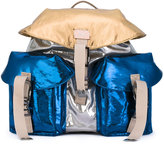 No.21 metallic flap backpack - women - Calf Leather/Polyester/Polyurethane - One Size