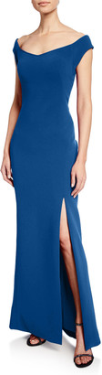 Zac Posen Off-the-Shoulder Bonded-Crepe Gown
