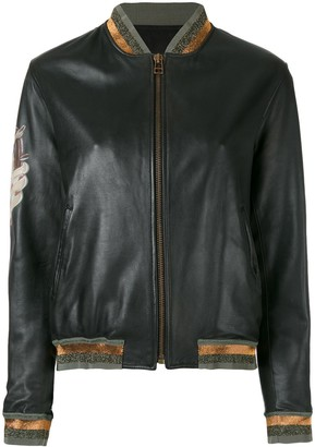 Mr & Mrs Italy tattoo-style print leather bomber