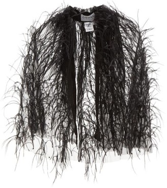 Osman Mareva Feather-trimmed Tulle Cape - Womens - Black