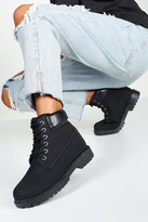 boohoo Grace Padded Cuff Lace Up Hiker Boots