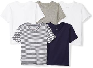 Moon and Back Set of 5 Organic V-Neck Short-Sleeve T-Shirts