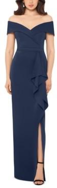 Xscape Evenings Petite Off-The-Shoulder Gown