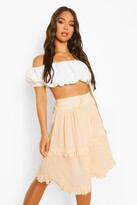 Thumbnail for your product : boohoo Cheesecloth Tiered Ruffle Skater Skirt