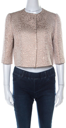 Max Mara Cream Lurex Floral Pattern Jacquard Cropped Jacket S