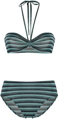 Roberto Collina Striped Print Bikini Set