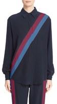 Stella McCartney Asymmetric Stripe Silk Blouse