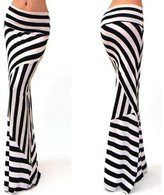 Pooqdo Women Asymmetric High Waist Striped Fold Over Stretch Long Maxi Skirt