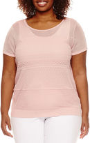 WORTHINGTON Worthington Short Sleeve Texture Sweater Shell - Plus
