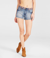 High-Waisted Embroidered Medium Wash Denim Shorty Shorts