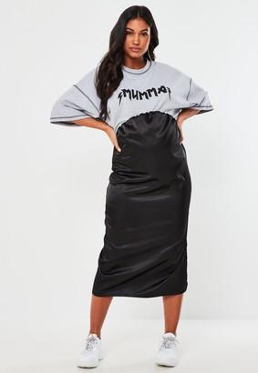 Missguided Black Satin Maternity Slip Skirt