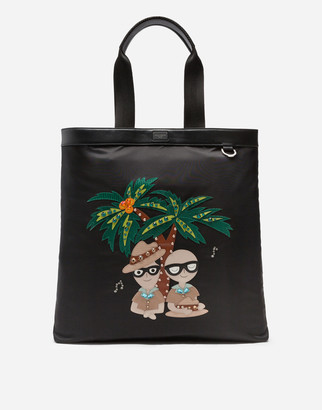 Dolce & Gabbana Nylon Shopping Bag With Tropical Stylist Patches