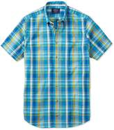 Charles Tyrwhitt Slim Fit Short Sleeve Green and Blue Check Cotton Shirt Single Cuff Size Large