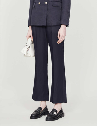 Sandro Made mid-rise flared woven trousers