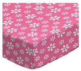 Camilla And Marc SheetWorld Round Crib Sheets - Primary Pink Floral Woven - Made In USA - 106.7 cm (42 inches)