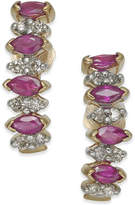 Macy's Ruby (1 ct. t.w.) & Diamond (1/4 ct. t.w.) Drop Earrings in 14k Gold
