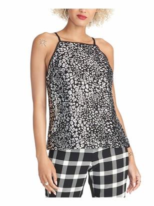 Rachel Roy Womens Black Glitter Shimmer Animal Print Spaghetti Strap Square Neck Tank Party Top Size: XXL