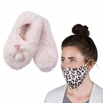 Jessica Simpson Women's Slipper Socks with Washable Face Mask Set