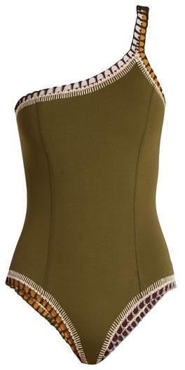 Kiini Wren One Shoulder Crochet Trimmed Swimsuit - Womens - Khaki