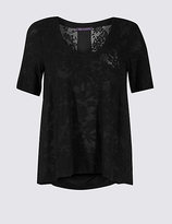 M&S Collection Devore Print V-Neck Short Sleeve Blouse