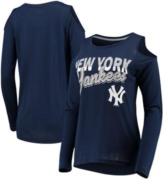 New York Yankees G Iii Women's G-III 4Her by Carl Banks Navy Crackerjack Cold Shoulder Long Sleeve T-Shirt